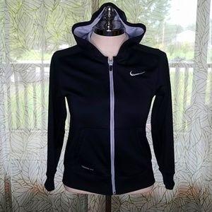 Nike Girls Large Jacket Dri-fit Hooded Black Bin14